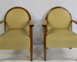 Pair Of Leather Upholstered Art Deco Arm Chairs