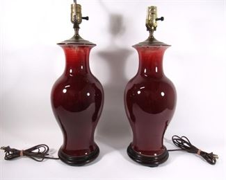 Pair of Oxblood Vases as Lamps