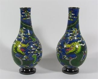 Pair of Silver Cloisonne Dragon Vases