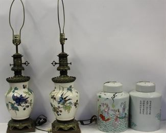 Porcelain Grouping To Include A Pair Of Lidded