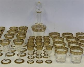 SAINT LOUIS Signed Lot Of Gilt Decorated Stemware