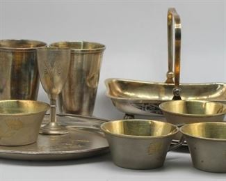 SILVER Assorted Russian Silver Hollow Ware Group