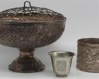 SILVER Grouping of Asian Silver Hollow Ware