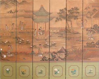 Six Panel Chinese Painted Screen