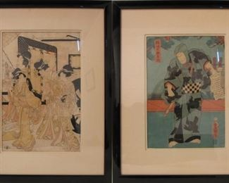 Two Japanese Woodblock Prints by Toyokuni