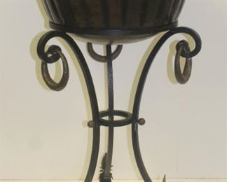 Vintage And Quality Brass Planter Raised In Iron