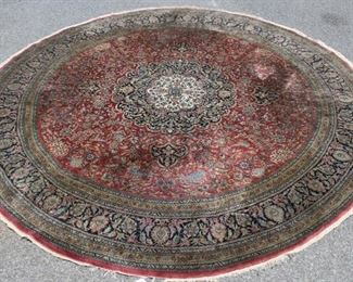 Vintage and Finely Hand Woven Round Carpet