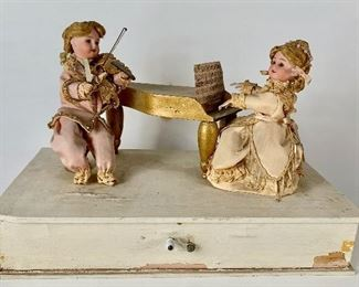 2 Bisque Head Doll Musicians Automaton C. 1900