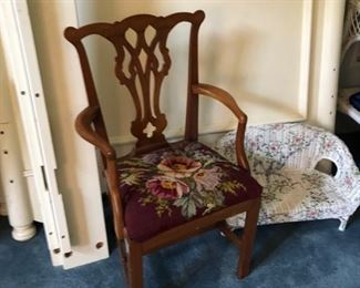 Miniature antique chair with needlepoint seat