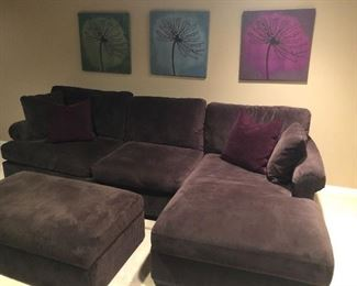 Wonderful sectional with ottoman, Trio of colorful prints also available