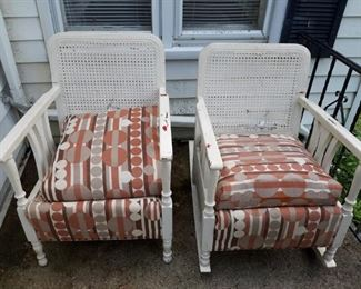 Painted Oak chairs and rocker