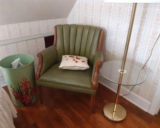Vintage chairs and lamps, beautiful enamel gladiolus wastebasket
