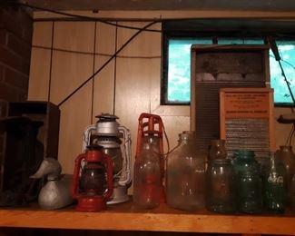 Old electric insulators Cobra railroad lamps and oil lamps