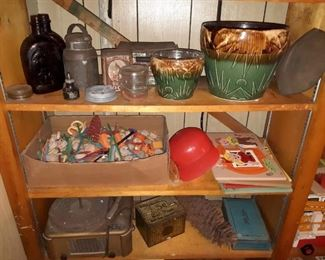 Old Pottery, glass, toys, record player