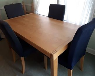 Ikea table and 6 chairs extendable and blue fabric excellent condition