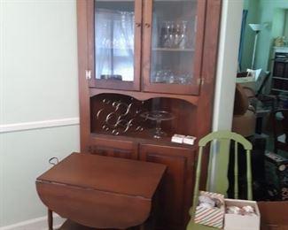 Corner cabinet, tea cart, painted chair