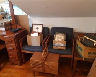 mid-century chairs and sewing boxes