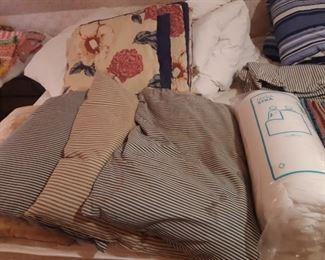Vintage feather pillows striped ticking