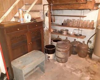 Old bottles, milk bottles, primitive bench, China hutch