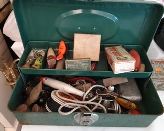 Vintage fishing tackle box sold complete