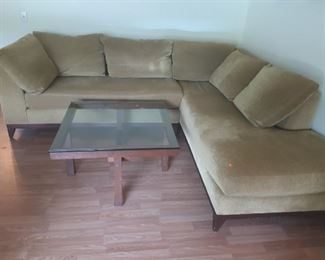 Sofa with Chaise, coffee table, originally 9000 in mint condition, 1500 out the door