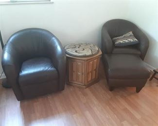 Leather Club Chairs, side table and ottoman
