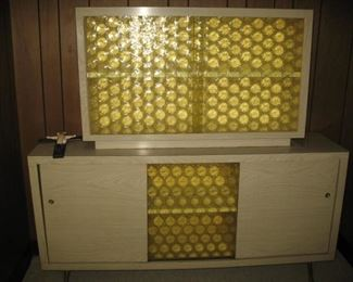 Retro storage cabinet yellow glass.