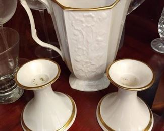 Lenox Gold and White Pitcher and Candleholders