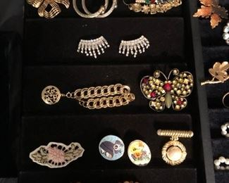 Costume jewelry pins and broaches