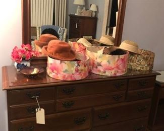 Vintage hat boxes and hats
