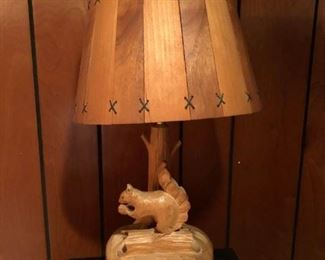 Mid century Canadian carved squirrel lamp signed Mel Dube