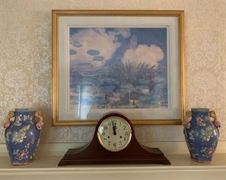 Ethan Allen Mantle Clock, Water Lilies Framed Print