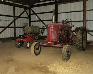 IHC 400 Diesel tractor, Simplicity Mower, John Deere sprayer