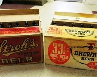 Vintage Stroh's and Dreweys Beer Boxes w/ bottles