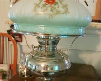 Beautiful Rayo nickel plated kerosene lamp w/ hand painted milk glass shade