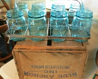 Aqua ball pint jars in carrier, Blue Anchor wooden box