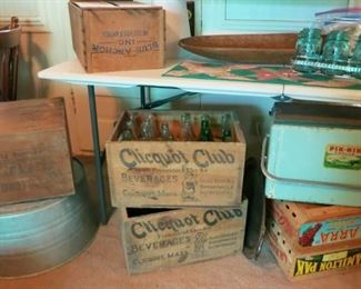Advertising wooden boxes, galvanized wash tub, collectible bottles, Aqua ball jars w/ carrier, vintage cooler