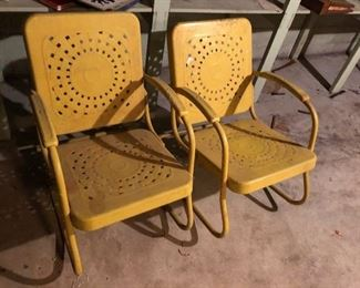 Pair of 1950's Metal Garden Chairs.  In near perfect condition.  Original paint