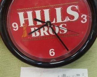Hills Bros Advertising Clock