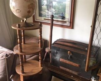VINTAGE SMALL TRUNK, WOOD CHEST AND TABLES (GLOBE HAS BEEN SOLD)