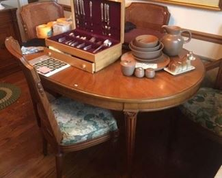 HENREDON DINING TABLE AND CHAIRS (FLATWARE AND DISHES HAVE BEEN SOLD)