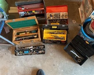 6 Tool boxes Full of tools, wrenches, sockets, ratchets, screw drivers, etc