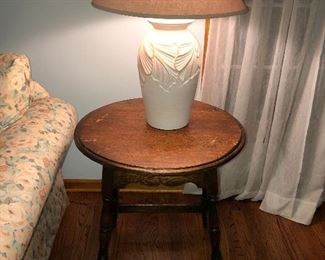 Round Occasional End Table and Ceramic Floral Table Lamp.