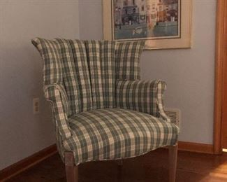 Great Wing Chair in Plaid Fabric