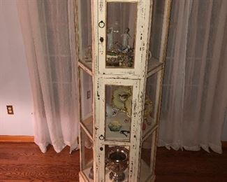 Spectacular Wood & Glass Rustic, Hexagon Shaped Primitive Display Cabinet.
