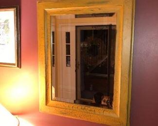 Crackle Glazed Wood Framed Mirror.