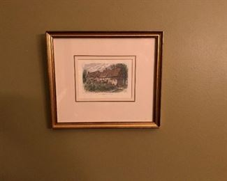 Artwork Print of Home of Ann Hathaway Thatched Roof House.