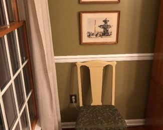 2 Original French Artworks above a 1940's Wooden Chair.