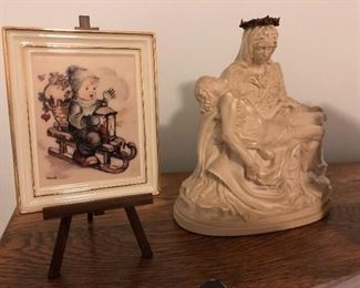 Small Framed Porcelain Hummel and a Stone Religious Statue of Jesus & Mary.