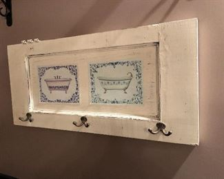 Bathroom Towel / Robe Hanger Made With Old Shutter and Painted.